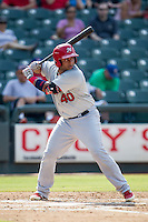 Memphis Redbirds catcher Audry Perez (40) at bat during the first game of a Pacific Coast League doubleheader against the Round Rock Express on August 3, 2014 at the Dell Diamond in Round Rock, Texas. The Redbirds defeated the Express 4-0. (Andrew Woolley/Four Seam Images)