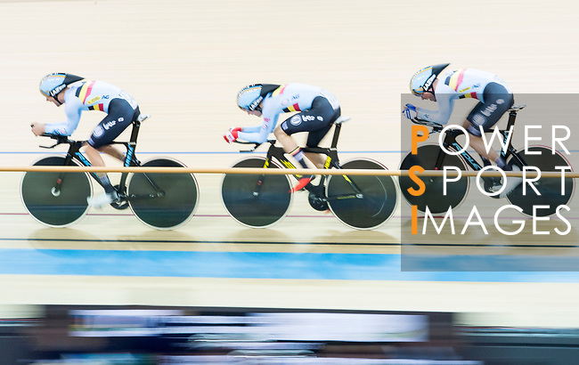 The team of Belgium with Kenny de Ketele, Moreno de Pauw, Lindsay de Vylder and Robbe Ghys compete in the Men's Team Pursuit - Qualifying match as part of the Men's Team Pursuit - Qualifying match as part of the 2017 UCI Track Cycling World Championships on 12 April 2017, in Hong Kong Velodrome, Hong Kong, China. Photo by Victor Fraile / Power Sport Images