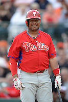 Philadelphia Phillies outfielder Bobby Abreu (53) during a spring training game against the Baltimore Orioles on March 7, 2014 at Ed Smith Stadium in Sarasota, Florida.  Baltimore defeated Philadelphia 15-4.  (Mike Janes/Four Seam Images)
