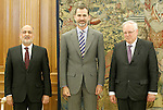 King Felipe VI of Spain attends in audience to Mr. Dean Spielmann, President of the European Court of Human Rights (r) and Francisco Perez de los Cobos, President of the Constitutional Court of Spain . May 21 ,2015. (ALTERPHOTOS/Acero)
