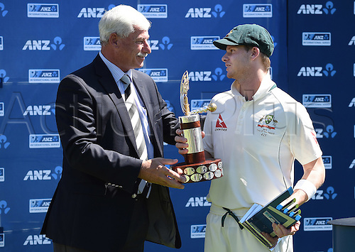 24.02.2016. Christchurch, New Zealand.  Sir Richard Hadlee and Australian Captain Steve Smith during the post match presentations on Day 5 of the 2nd test match. New Zealand Black Caps versus Australia. Hagley Oval in Christchurch, New Zealand. Wednesday 24 February 2016.