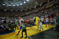 BUKARESZT 09.05.2012.MECZ FINAL LIGA EUROPY SEZON 2011/12: ATLETICO MADRYT - ATHLETIC BILBAO --- UEFA EUROPA LEAGUE FINAL 2012 IN BUCHAREST: CLUB ATLETICO DE MADRID - ATHLETIC CLUB DE BILBAO.GABI  THIBAUT COURTOIS  PILKARZE  STADION NARODOWA ARENA --- STADIUM NATIONAL ARENA.FOT. PIOTR KUCZA.---.Newspix.pl
