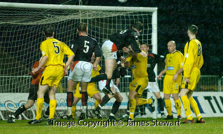 15/03/2005         Copyright Pic : James Stewart.File Name : jspa08_falkirk_v_clyde.KEVIN JAMES HEADS OVER....Payments to :.James Stewart Photo Agency 19 Carronlea Drive, Falkirk. FK2 8DN      Vat Reg No. 607 6932 25.Office     : +44 (0)1324 570906     .Mobile   : +44 (0)7721 416997.Fax         : +44 (0)1324 570906.E-mail  :  jim@jspa.co.uk.If you require further information then contact Jim Stewart on any of the numbers above.........A
