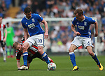 Mark Duffy of Sheffield Utd and Lukas Jutkiewicz of Birmingham City during the championship match at St Andrews Stadium, Birmingham. Picture date 21st April 2018. Picture credit should read: Simon Bellis/Sportimage