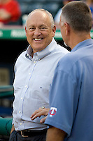 Texas Rangers Owner and Hall of Fame pitcher Nolan Ryan smiles while he talks with  Bert Blyleven before the Major League Baseball game against the Texas Rangers at the Rangers Ballpark in Arlington, Texas on July 27, 2011. Blyleven, who also pitched for the Texas Rangers during his long career was enshrined in the National Baseball Hall of Fame last weekend. Minnesota defeated Texas 7-2.  (Andrew Woolley/Four Seam Images)