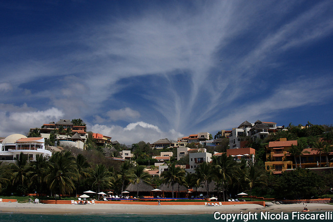 A beautiful cloud formation above the Mexican riviera on the coast of Bay of Banderas.
