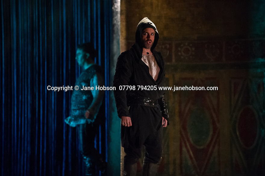London, UK. 15.10.2014. English Touring Opera presents OTTONE, by George Frideric Handel, directed by James Conway, at the Hackney Empire. Picture shows:  Grant Doyle (Emireno) and Andrew Radley (Adelberto - background). Photograph © Jane Hobson.