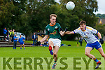 Shane Conway, Finuge in action against Shane Prenderville, Keel in the 2020 Kerry Petroleum Junior Premier Club Championship at Connolly park, Tralee, on Sunday.
