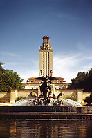 Vintage view of Littlefield Fountain and UT Tower on the University of Texas Campas in March 1953. This vintage image was shot on 35mm Kodak slide film.