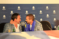 Graeme McDowell and Sergio Garcia at the final press conference of the 39th Ryder Cup at Medinah Country Club, Chicago, Illinois  (Photo Colum Watts/www.golffile.ie)
