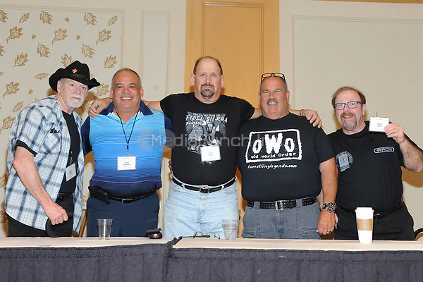 LAS VEGAS, NV - MAY 02: Don Bass, Ricky Santana, Fidel Sierra, Ed Morettti and Greg Lake at the 53rd Cauliflower Alley Club Reunion Convention at the Gold Coast Hotel & Casino in Las Vegas, Nevada on May 2, 2018. Credit: George Napolitano/MediaPunch