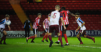 Lincoln City U18's Jordan Adebayo-Smith scores his side's third goal<br /> <br /> Photographer Chris Vaughan/CameraSport<br /> <br /> The FA Youth Cup Second Round - Lincoln City U18 v South Shields U18 - Tuesday 13th November 2018 - Sincil Bank - Lincoln<br />  <br /> World Copyright © 2018 CameraSport. All rights reserved. 43 Linden Ave. Countesthorpe. Leicester. England. LE8 5PG - Tel: +44 (0) 116 277 4147 - admin@camerasport.com - www.camerasport.com