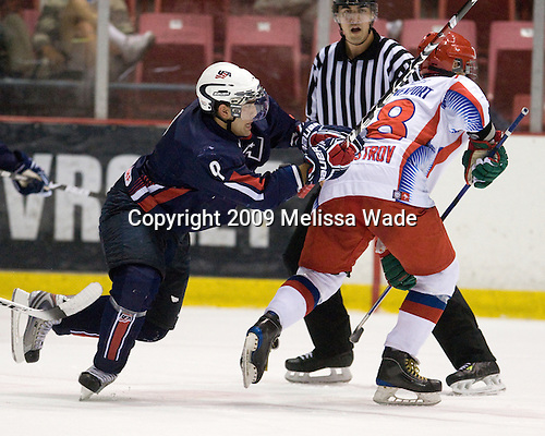 Jerry D'Amigo (US - 9), Alexander Burmistrov (Russia - 28) - Team Russia defeated Team USA 6-4 in their third game in the 1980/Herb Brooks (international-size) Rink on Friday, August 14, 2009, during the 2009 USA Hockey National Junior Evaluation Camp in Lake Placid, New York.