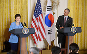 United States President Barack Obama holds a joint press conference with President Park Geun-hye of the Republic of Korea in the East Room of the White House October 16 2015 in Washington, DC.<br /> Credit: Olivier Douliery / Pool via CNP