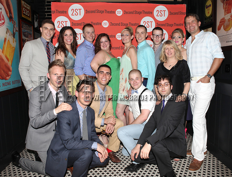 The Ensemble Cast & Creative Team .attending the after Party for Off-Broadway Opening Night Performance of Second Stage Theatre's 'Dogfight' at HB Burger in New York City.