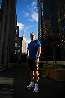 "Mike Redmond of Floral Park, poses for a portrait at the McGraw Communications offices in Manhattan. He is running the ING New York City Marathon on Sunday, and describes himself as a runner ""representing the everyman.'' He started running after his mother contracted colon cancer, and will run Sunday representing the Colon Cancer Challenge Foundation. This is his first full marathon. .(November 5, 2010).Photo by Danny Ghitis"