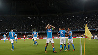Calcio, Champions League Gruppo B: Napoli vs Benfica. Napoli, stadio San Paolo, 28 settembre 2016. <br /> Napoli's Marek Hamsik, center, celebrates with teammates after scoring during the Champions League Group B soccer match between Napoli and Benfica at the Naples' San Paolo stadium, 28 September 2016. Napoli won 4-2.<br /> UPDATE IMAGES PRESS/Isabella Bonotto
