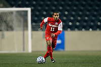 New Mexico Lobos midfielder Michael Calderon (11). The Notre Dame Fighting Irish defeated the New Mexico Lobos 2-0 during the semifinals of the 2013 NCAA division 1 men's soccer College Cup at PPL Park in Chester, PA, on December 13, 2013.