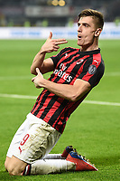 Krzysztof Piatek of AC Milan celebrates after scoring the goal of 1-0 <br /> Milano 22-02-2019 Stadio Giuseppe Meazza in an Siro Football Serie A 2018/2019 AC Milan - Empoli <br /> Foto Image Sport / Insidefoto