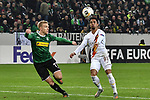 07.11.2019, Borussia-Park - Stadion, Moenchengladbach, GER, EL, Borussia Moenchengladbach vs. AS Roma, UEFA regulations prohibit any use of photographs as image sequences and/or quasi-video<br /> <br /> im Bild v. li. im Zweikampf Oscar Wendt (#17, Borussia Moenchengladbach) Justin Kluivert (#99, A Roma) <br /> <br /> Foto © nordphoto/Mauelshagen