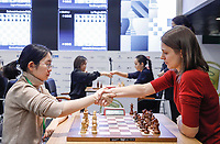31st December 2019, Moscow, Russia; Tan Zhongyi L of China and Anna Muzychuk of Ukraine shake hands after the Blitz Women final round at 2019 King Salman World Rapid & Blitz Chess Championship in Moscow, Russia