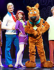 Scooby-Doo! Live Musical Mysteries <br /> at The Palladium, London, Great Britain <br /> press photocall <br /> 17th August 2016 <br /> <br /> Chris Warner Drake as Fred <br /> Joe Goldie as Scooby-Doo <br /> Rebecca Withers as Velma<br /> <br /> <br /> Photograph by Elliott Franks <br /> Image licensed to Elliott Franks Photography Services