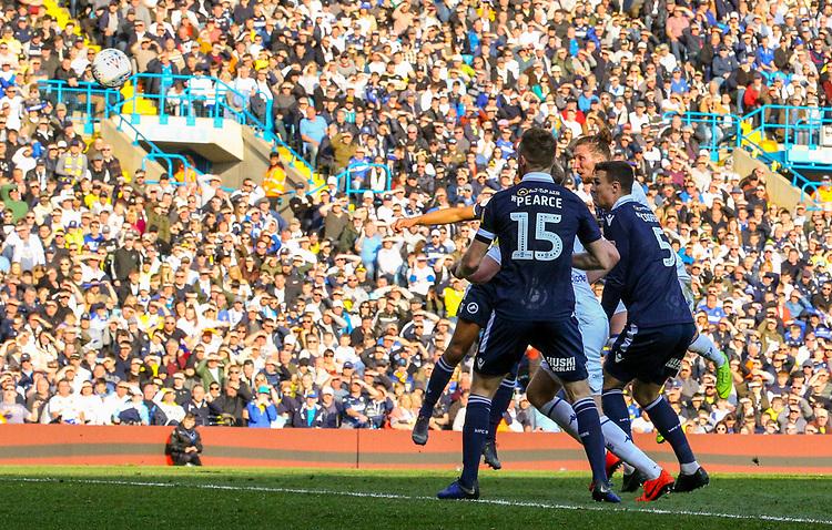 Leeds United's Luke Ayling scores his side's second goal <br /> <br /> Photographer Alex Dodd/CameraSport<br /> <br /> The EFL Sky Bet Championship - Leeds United v Millwall - Saturday 30th March 2019 - Elland Road - Leeds<br /> <br /> World Copyright © 2019 CameraSport. All rights reserved. 43 Linden Ave. Countesthorpe. Leicester. England. LE8 5PG - Tel: +44 (0) 116 277 4147 - admin@camerasport.com - www.camerasport.com