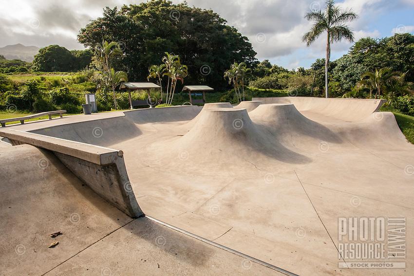 An empty skateboard park for youth in Hana, Maui.