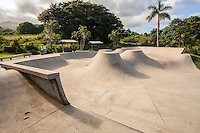 An empty skateboard park for youth in Hana, Maui.