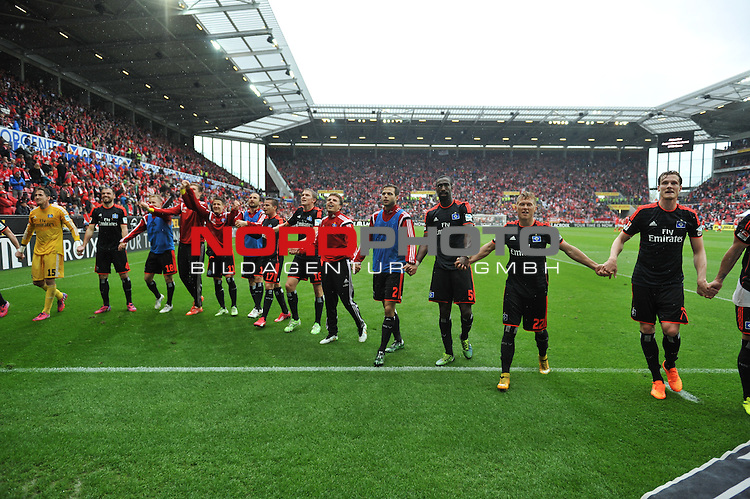 03.05.2015, cofacearena, Mainz, GER, FSV Mainz 05 vs. Hamburger SV, im Bild: Hamburger Jubel<br /> <br /> Foto &copy; nordphoto / Fabisch