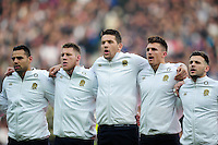 Charlie Ewels of England sings the national anthem with team-mates. Old Mutual Wealth Series International match between England and Argentina on November 26, 2016 at Twickenham Stadium in London, England. Photo by: Patrick Khachfe / Onside Images