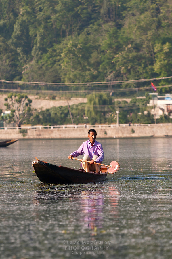 Man paddling a traditional Kashmiri shikara, Dal Lake, Srinagar, Kashmir, India.