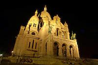 Basilica of the Sacred Heart of Jesus of Paris at sunset Montmartre,- Sacré-Coeur Basilica.