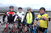 John O'Brien, Cahersiveen, Tony Phelan, Dublin, John Turner, Cork and Sean Desmond, Cork, pictured at the half way break at Kilmackillogue Harbour in County Kerry whilst taking part in the annual Sneem Cycle, &ldquo;Wild Atlantic Challenge Charity Cycle&rdquo; in aid of Breakthrough Cancer Research at the weekend.<br /> Photo Don MacMonagle<br /> <br /> repro free photo<br /> Further info: Ann O'Sullivan ann@breakthroughcancerresearch.ie