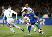 Calcio, Serie A: Napoli, stadio San Paolo, 2 aprile, 2017.<br /> Juventus Mario Mandzukic (r) in action with Napoli's Jos&eacute; Maria Callejon (l) during the Italian Serie A football match between Napoli and Juventus at San Paolo stadium, April 2, 2017<br /> UPDATE IMAGES PRESS/Isabella Bonotto