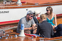"""Henley on Thames, United Kingdom, 6th July 2018, Friday, View,  Coach, Robin DOWELL, fiddles, with his mobile phone, after Jeannine GMELIN, Challenge Cup, Royal Heat in the Princess Royal,Challenge Cup, """"Third day"""", of the annual,  """"Henley Royal Regatta"""", Henley Reach, River Thames, Thames Valley, England, © Peter SPURRIER,"""