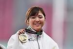 Hitomi Katsuyama (JPN), <br /> AUGUST 25, 2018 - Athletics : Women's Hammer Throw Victory ceremony at Gelora Bung Karno Main Stadium during the 2018 Jakarta Palembang Asian Games in Jakarta, Indonesia. <br /> (Photo by MATSUO.K/AFLO SPORT)