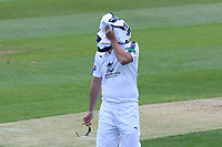 Kyle Abbott of Hampshire reacts after a chance goes down during Essex CCC vs Hampshire CCC, Specsavers County Championship Division 1 Cricket at The Cloudfm County Ground on 20th May 2017