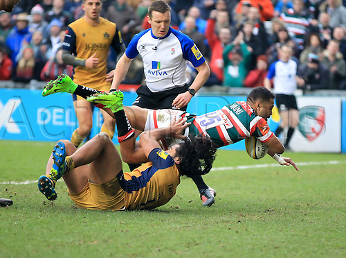 February 18th 2017,  Leicester, England; Aviva Premiership Rugby, Leicester versus Bristol;  Telusa Veainu scores a try for Tigers