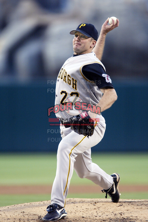 Josh Fogg of the Pittsburgh Pirates pitches during a 2002 MLB season game against the Los Angeles Angels at Angel Stadium, in Anaheim, California. (Larry Goren/Four Seam Images)