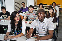 Photos for Kingston University  London international student brochures and prospectuses.??Interactive teaching.  Lecturer Jason Piper using Powerpoint to give a mock lecture on cultural identity. Students listening and participating.??Date Taken: 19/04/10??Location: ?John Galsworthy Building teaching rooms, Penrhyn Rd campus.?Contact:??Commissioned by:  Kingston University - Emma Carlino?Emma Carlino.International Marketing Communications Manager.International Centre.Kingston University London.Swan Wing, River House.53-57 High Street.Kingston upon Thames.London.KT1 1LQ.UK.Tel: +44(0)20 8417 3006.Fax: +44(0)20 8417 3028.Email: e.carlino@kingston.ac.uk.Website: www.kingston.ac.uk/international