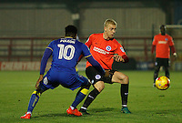 Brighton's Henrik Bjordal is closed down by AFC Wimbledon's Dom Polen during the The Checkatrade Trophy match between AFC Wimbledon and Brighton & Hove Albion Under 21s at the Cherry Red Records Stadium, Kingston, England on 6 December 2016. Photo by Carlton Myrie / PRiME Media Images