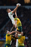 Brad Shields of England wins the ball at a lineout. Quilter International match between England and Australia on November 24, 2018 at Twickenham Stadium in London, England. Photo by: Patrick Khachfe / Onside Images