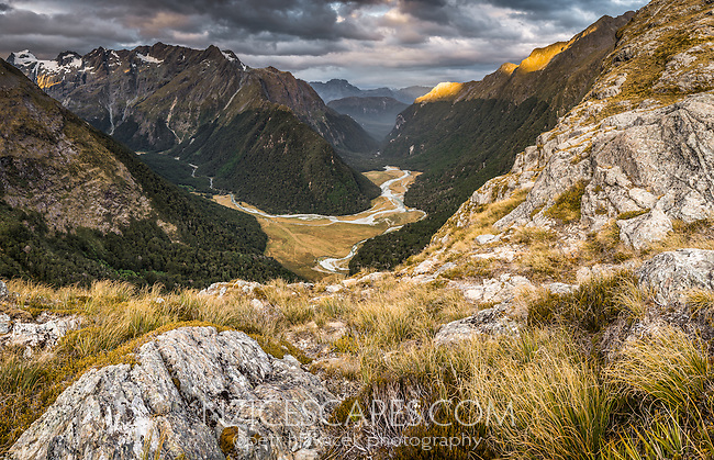 Sunset views into Routeburn Flats from near Routeburn Falls hut, Mt. Aspiring National Park, UNESCO World Heritage Area, Central Otago, New Zealand, NZ