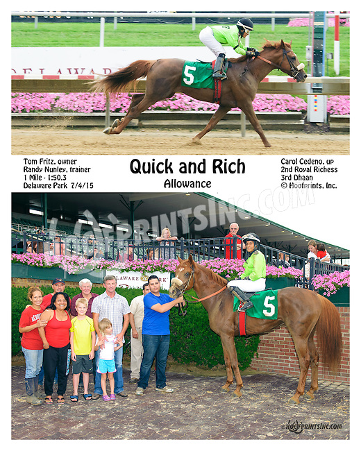 Quick and Rich winning at Delaware Park on 7/4/15
