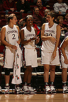 19 January 2006: Krista Rappahahn, Candice Wiggins and Brooke Smith during Stanford's win over the University of California Golden Bears at Maples Pavilion in Stanford, CA.