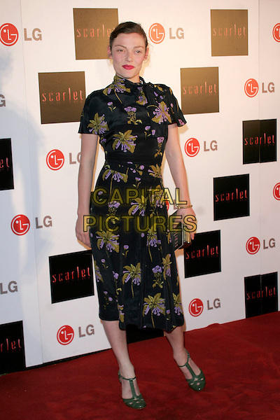 "CAMILLA RUTHERFORD .""Scarlet"" - TV series launch, No. 1 Marylebone, Marylebone Road, London, England..April 30th, 2008.full length black green purple floral print dress t-bar shoes high collar asian style .CAP/AH.©Adam Houghton/Capital Pictures."