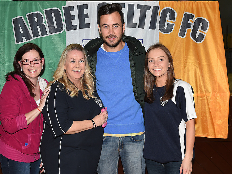Under 10 manager Michelle Magee, Academy Cordinator Leah Murray and secretary Carol McQuillan pictured with Ross Gaynor at Ardee Celtic underage awards night in Ardee Parish Centre. Photo:Colin Bell/pressphotos.ie