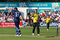 Tim Groenewald of Somerset celebrates taking the wicket of Tom Westley during Essex Eagles vs Somerset, NatWest T20 Blast Cricket at The Cloudfm County Ground on 13th July 2017