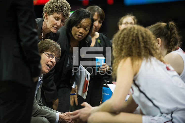 SPOKANE, WA - MARCH 30, 2013: Tara VanDerveer addresses the Cardinal during the third round NCAA Championships game matching Stanford vs Georgia at the Spokane Arena. The Cardinal fell to the Bulldogs 61-59.